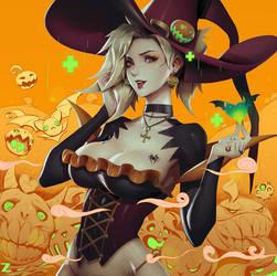 Witch Mercy - Halloween Overwatch LR 01 by Zeronis