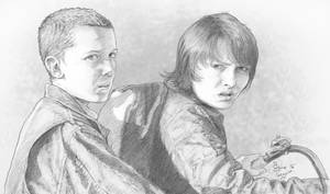 Stranger Things: Eleven and Mike by staino