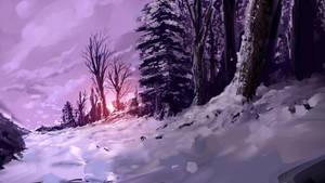 Snowy Dusk by Alexlinde