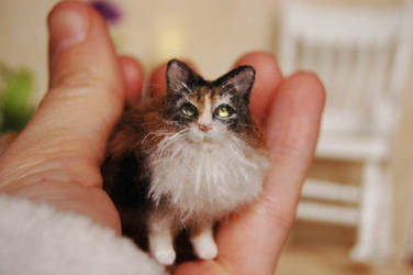 Bella-calico cat portrait dollhouse miniature by carine-cote