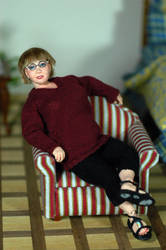 miniature 1/12 scale Bjd doll portrait by carine-cote