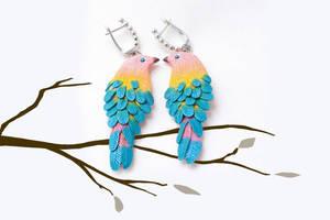 Handmade polymer clay earrings Two birds by EvrazhkaStudio