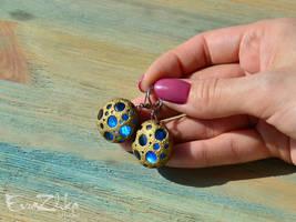 Handmade polymer clay earrings Martian stones by EvrazhkaStudio