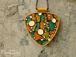 Handmade polymer clay necklace Surreal by EvrazhkaStudio