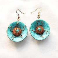 Polymer clay earrings Sea wave by EvrazhkaStudio
