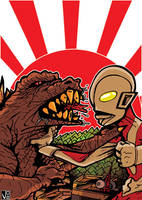 GODZILLA VS ULTRAMAN COLOR by drull