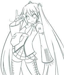 Hatsune Miku lineart by MightyLeafy