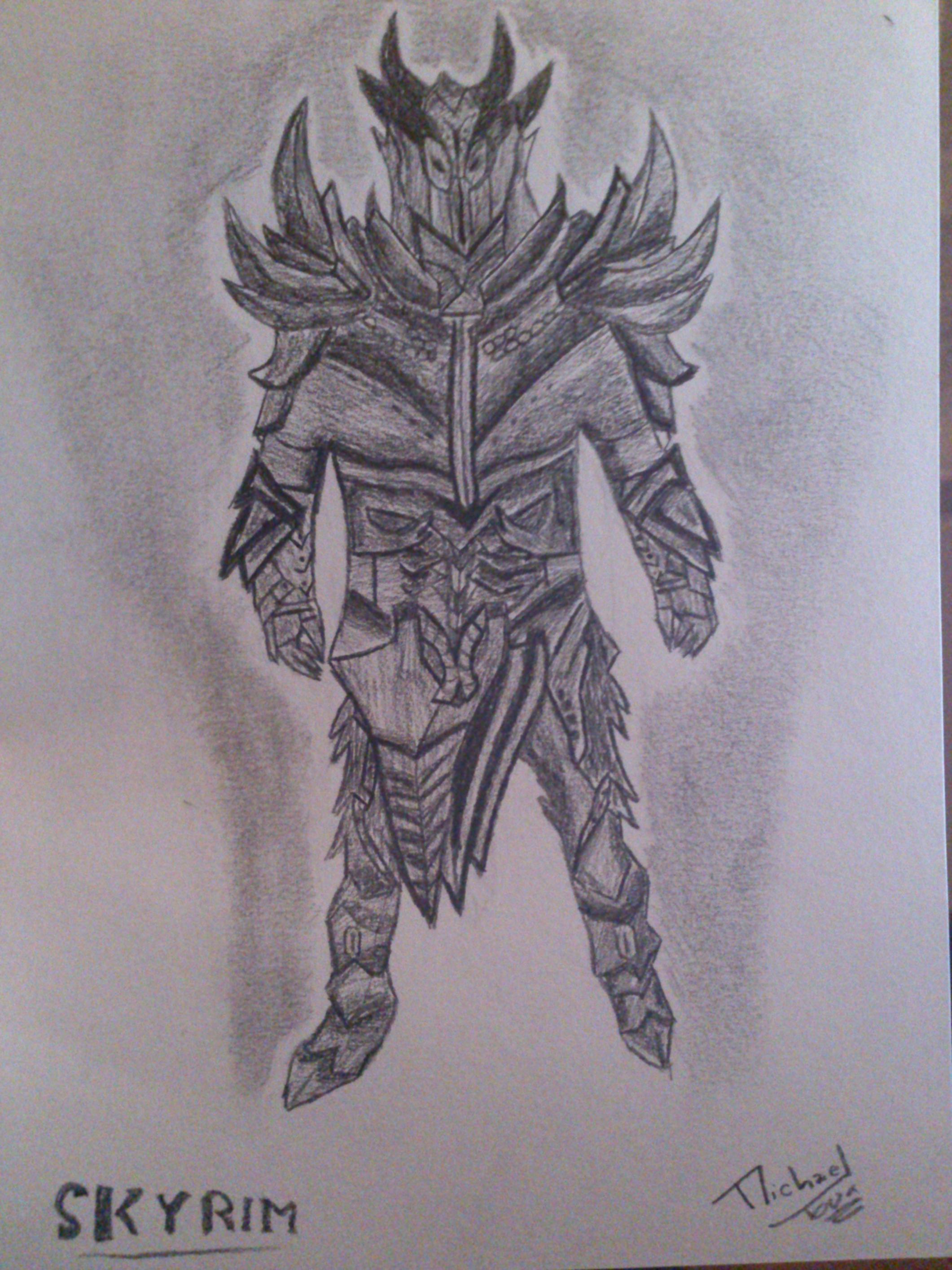 Daedric Armor Drawing by Darkmicha91