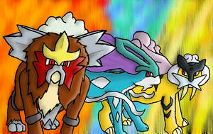 Entei, Raikou and Suicune by AgentQwilfish