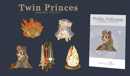 Twin Princes enamel pins by emlan