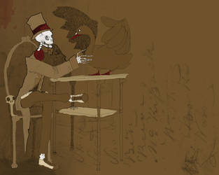 skeleton and swan by Toxandreev