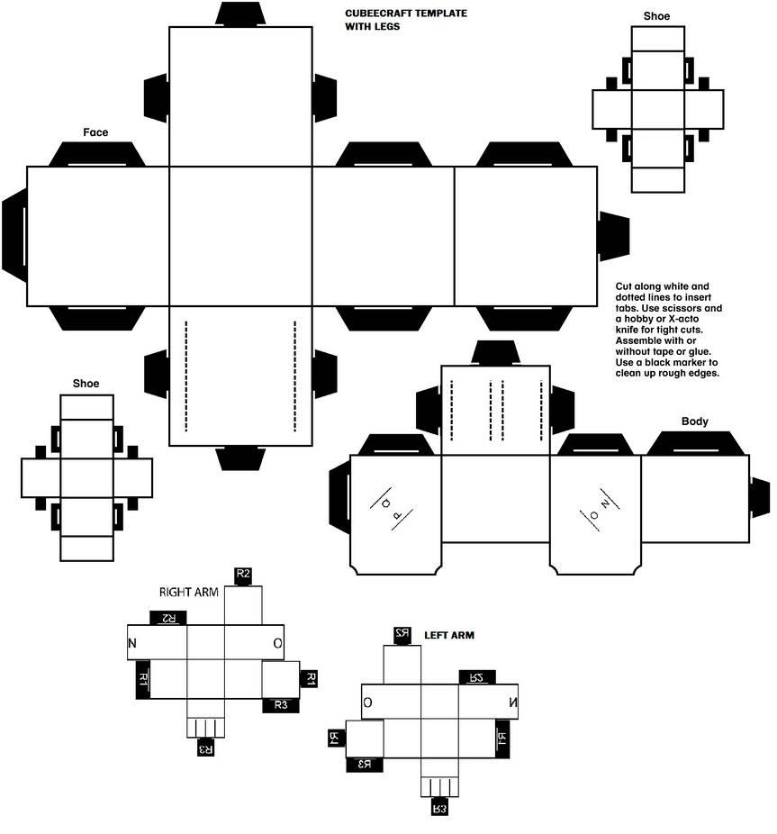 Cubeecraft Template Blank With Legs By Lovefistfury On Deviantart