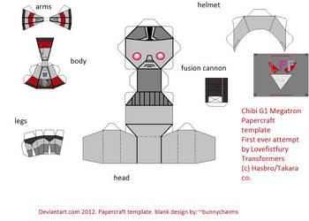 Chibi G1 Megatron Papercraft Template By Lovefistfury