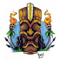 KU - the tiki war god. by inkeduptrash