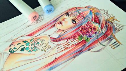Sakura Spirit wip 1 by MelissARTworks