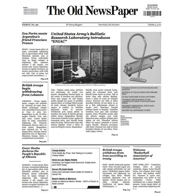 The Old NewsPaper WP theme v1 by lysergicstudio