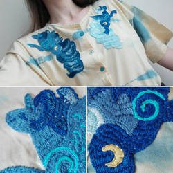 embroidery - Two Sides of Luna by WolfieDrawie