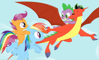 On a flight with the dragons by Porygon2z