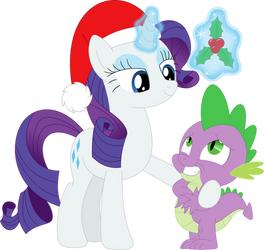 Look who's under the mistletoe, Spike by Porygon2z