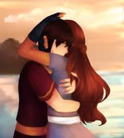 Redraw: Zutara Hug Scene by Mikan-bases