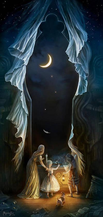Sisters in the Moonlight by Aledin