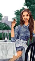 Waitress Taking a Break by Laurlolz