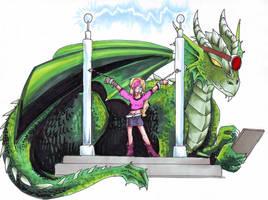 Cyberpunk Dragon and Princess by zaionczyk
