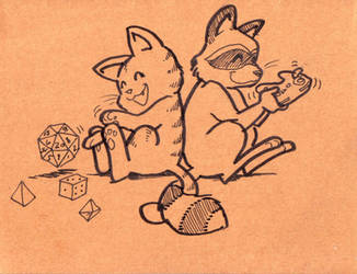 Kitty and Racoonie by zaionczyk