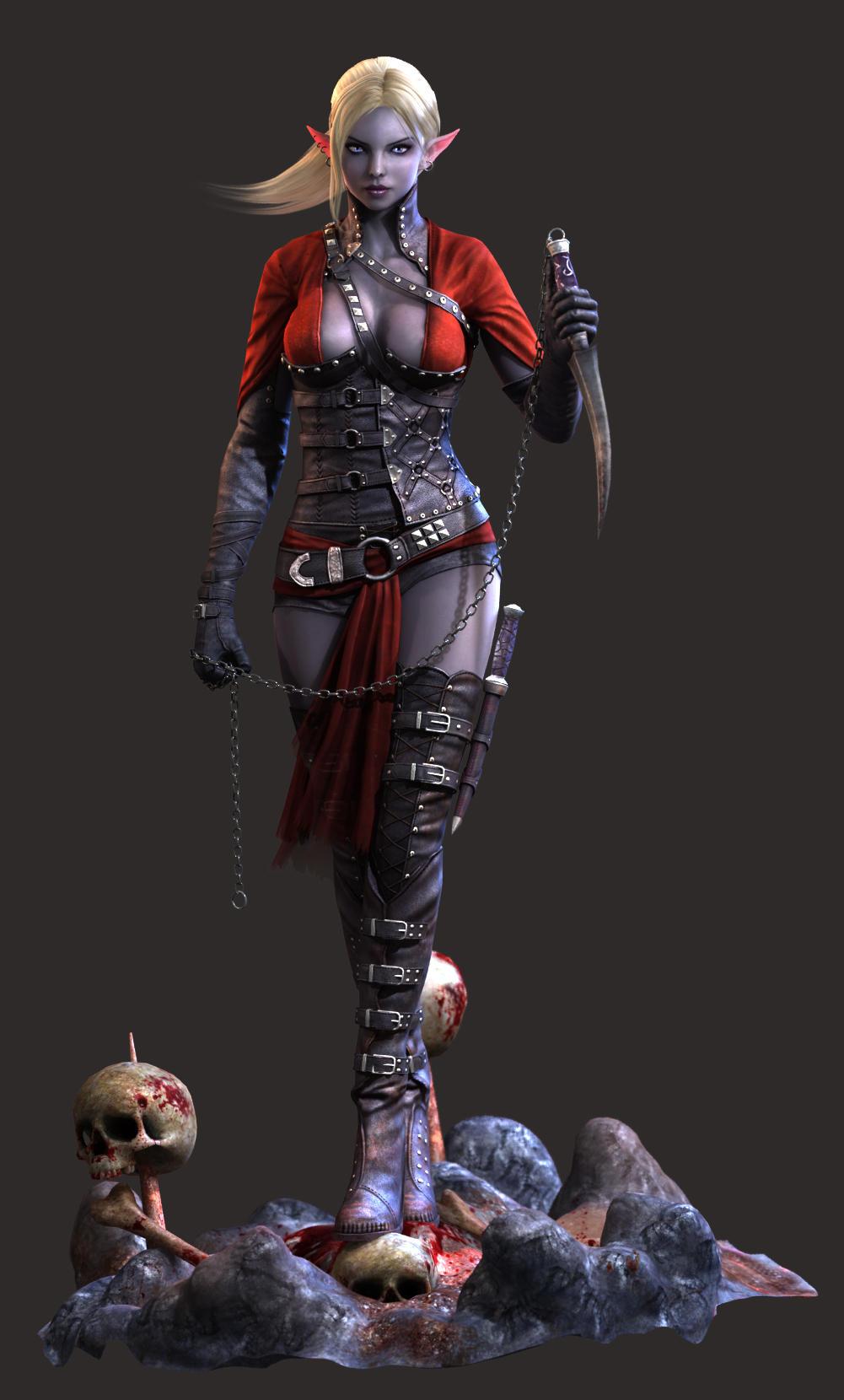 Dark Elf Assassin - final render - full by Bushidou2012