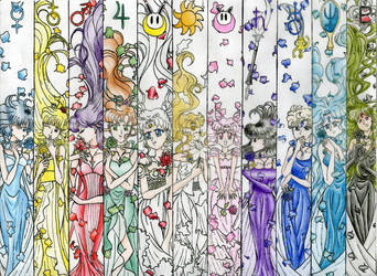 Sailor Moon princesses (in colour) by EmissixD