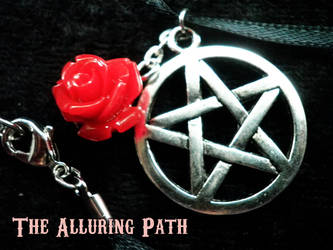 Pentacle Necklace with Coral Red Rose by TheAlluringPath