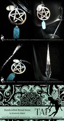 Pentacle Pendulum with Turquoise Crackle Glass by TheAlluringPath