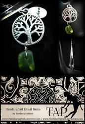 Tree with Green Crackle Glass Pendulum by TheAlluringPath