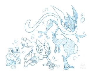 Froakie Evolution Sketch by ErbyDraws