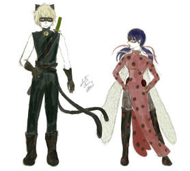 Older Ladybug and Chat Noir design by selenityshiroi