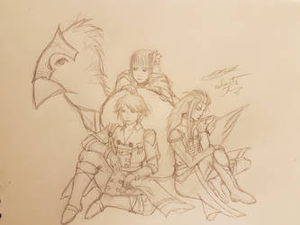 Chocobo Rain Lasswell and Fina by selenityshiroi