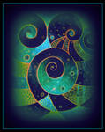 oldpaintingrevisited abstract black digital spiral by santosam81