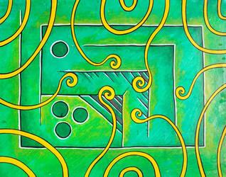 green field yellow spirals blue balls by santosam81