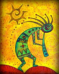 hopi kokopelli shaman w dark star by santosam81