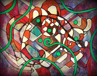 green spiral in red white mess by santosam81