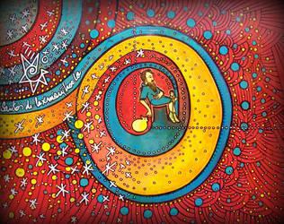 art high fly , ten of pentacles, trippy tarot by santosam81
