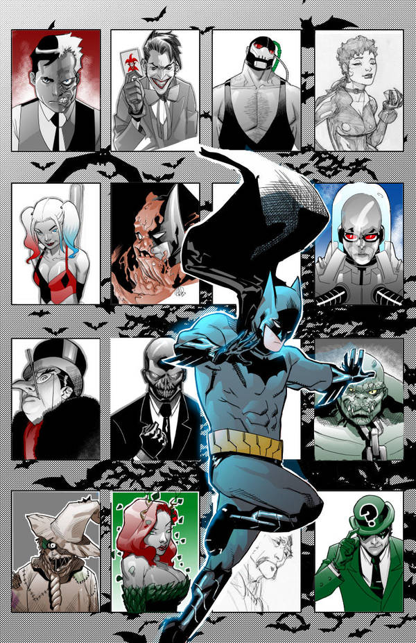 Batman's Rogue's Gallery WIP by TheAdrianNelson