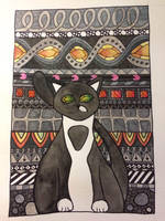 Watercolor Tuxedo Cat by mintdawn
