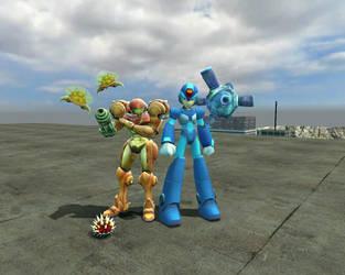 Megaman and Samus by zxnes