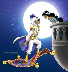 Aladdin and Jasmine by Mareishon