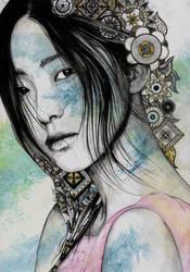 Stoic (asian girl portrait, mandala doodles) by KissMyArt-Artcore