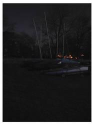 Moonlit boats ashore by e-s-d