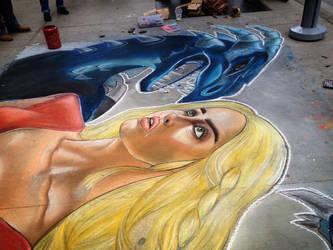 Khaleesi and her Dragon in Chalk by CatChalks