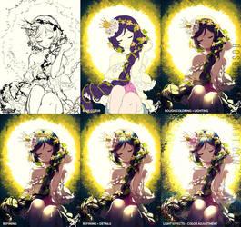 Progress Shots of Rapunzel Nozomi by Rosuuri