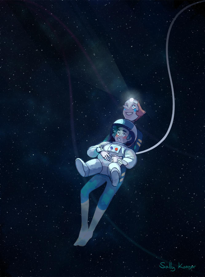 "I finally got watch steven universe some time ago! I loved it, especially the episode ""space race"", so I wanted to draw Pearl showing Steven the wonders of the cosmos."